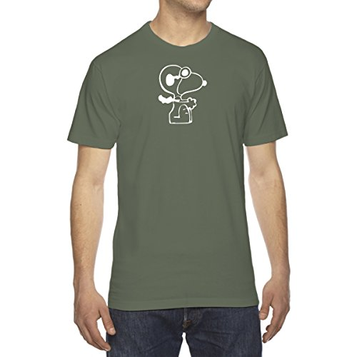 Men's Snoopy Red Baron Flying T-Shirt - X-Large MILITARY - Shirt Baron