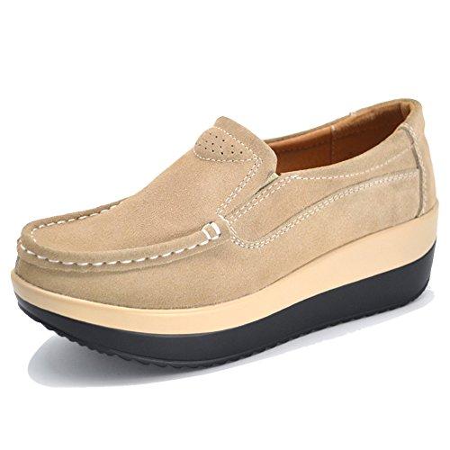 HKR-GF828-1xingse39 Women Loafers Slip On Platform Sneakers Comfort Suede Driving Moccasins Shoes Tan 7.5 B(M) US (Brown Slip On)