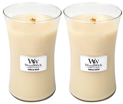 Vanilla Bean Scented Crackling Wooden Wick Candle in Clear Glass Jar - Set of 2