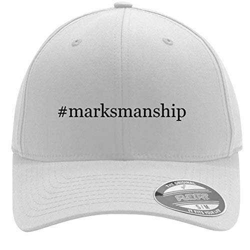#Marksmanship - Adult Men's Hashtag Flexfit Baseball Hat Cap, White, Large/X-Large