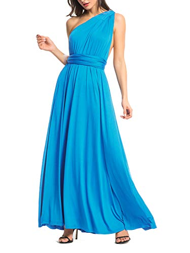 (Clothink Women Acid Blue Maternity Baby Shower Dress Maxi Dress)
