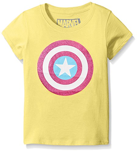 Marvel Little Girls' Captain America or Marvel Group Short Sleeve T-Shirt, Tart Yellow, Medium/5 (America Girls Clothes compare prices)