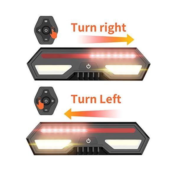 MojiDecor Fanale Posteriore per Bicicletta Impermeabile USB Ricaricabile Luce Posteriore Bici con LED Indicatore di Direzione 3 Modalità d'Illuminazione Lampada per Mountain Bike Bicicletta 5 spesavip