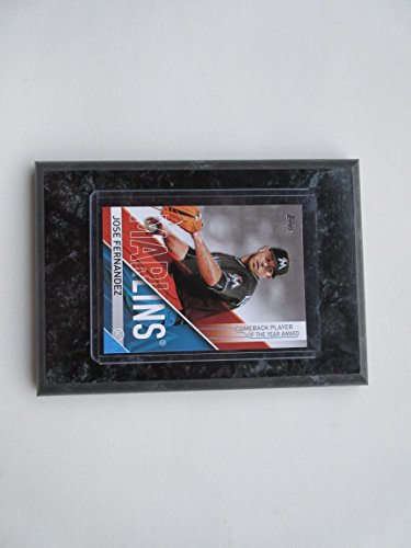 JOSE FERNANDEZ MIAMI MARLINS COMEBACK PLAYER OF THE YEAR AWARD CARD MOUNTED ON A