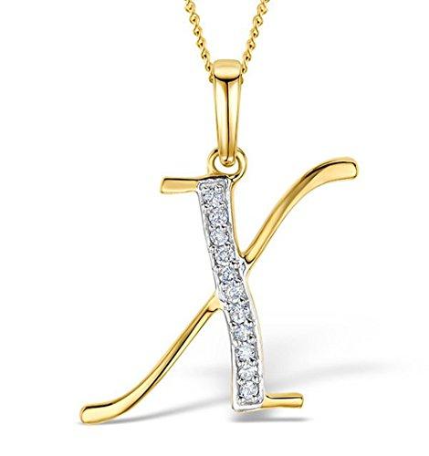 0.05 Ct TDW 10K Yellow Gold Round Genuine Diamond Initial