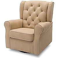 Delta Children Emerson Upholstered Glider Swivel Rocker Chair, Beige with Ecru Welt