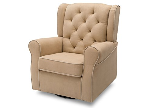 Delta Children Emerson Upholstered Glider Swivel Rocker Chair, Beige with Ecru Welt