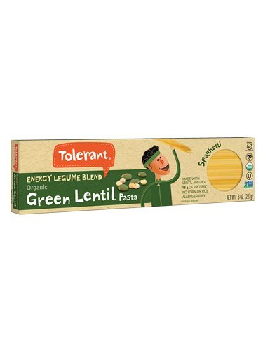 Tolerant – Organic Green Lentil and Pea Pasta, Energy Legume Blend, Spaghetti – 8 Oz (6 Pack)