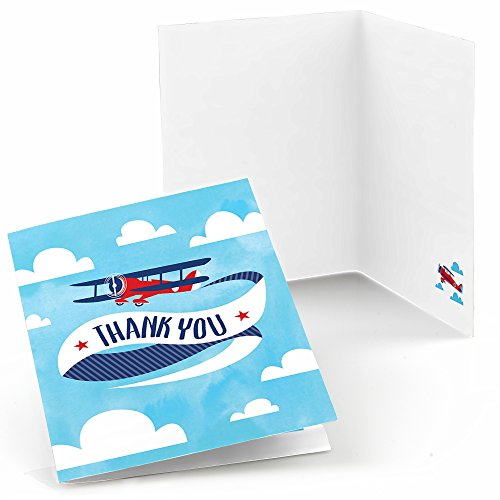Aviation Card - Big Dot of Happiness Taking Flight - Airplane - Vintage Plane Baby Shower or Birthday Party Thank You Cards (8 Count)