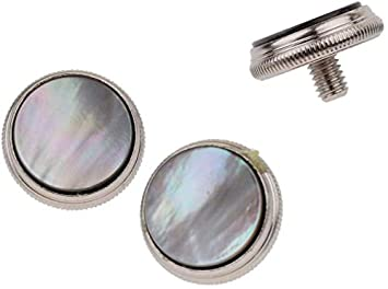 Lheng 3Pcs Trumpet Valve Finger Buttons Musical Instruments Accessories Silver with White Turquoise Inlay