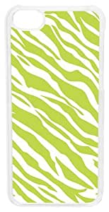 CellPowerCasesTM Zebra Stripes Lime Green Case for iPhone 5c (Clear Case)