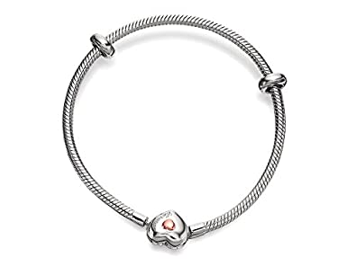Clogau Beads Womens Silver 9ct Rose Gold Cariad Heart Milestones Bracelet - 19cm tiNKk8