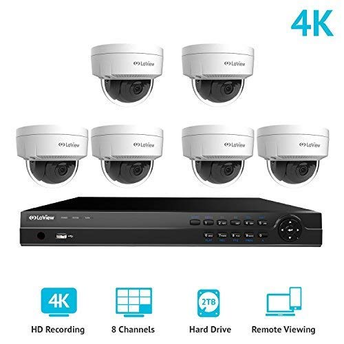 - LaView 8 Channel Ultra HD True 4K Home Security Camera System PoE with 6 x 8MP IP Dome Cameras, 100ft Night Vision, Weatherproof Expandable Surveillance Camera System NVR 2TB HDD
