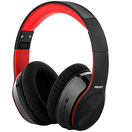 MUSEZ M3 Bluetooth 5.0 HeadphonesOver Ear, Hi-Fi Stereo Wireless Headset, Foldable, Soft Memory-Protein Earmuffs, w/Built-in Mic Wired Mode, for Travel/Work, Free Protective case (Black/Red)