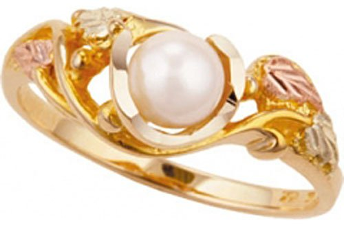 Beautiful! 10K Yellow gold Authentic Black Hills Gold Women's Freshwater Cultured Pearl Ring