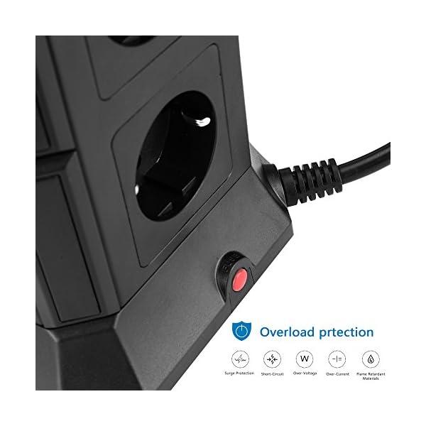 Lidlife Torretta multipresa a 8 prese, con protezione da sovratensione e da fulmini, presa multipla a torre con 4 porte USB e cavo di prolunga da 2 m, Nero 3 spesavip