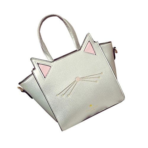 Women Lovely Cat Ear Large Capacity Handbag Shoulder Bag (Silver) by Napoo-Bag
