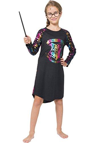 Harry Potter Big Girls' Hermione Granger 'Hogwarts Crest Magic Rainbow' Costume Pajama Nightgown, Black, 8]()