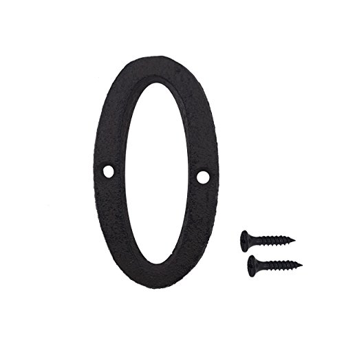 3 Inch Wrought Iron House Number, Matching Screws Included Black Number 0