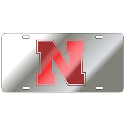 Craftique Nebraska Cornhuskers Mirrored Laser Cut License Plate - N Logo