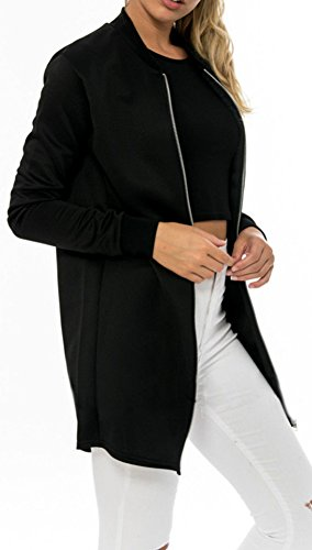 SERAPHY Sleeve Zip Long Jacket Casual Stand Long Bomber Collar Lightweight up Black Women's Y1rwCqxYF