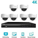LaView 8 Channel Ultra HD 4K Home Security Camera System with 6 x 8MP IP Dome Cameras (3840 x 2160), 100ft Night Vision, Weatherproof Expandable Surveillance Camera System NVR 2TB HDD