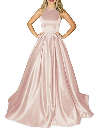 MARSEN Halter Satin Long Prom Gown Beaded Open Back A Line Evening Formal Dress Blush Size ()