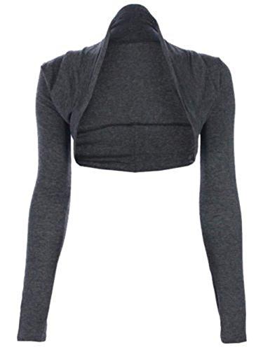 Viscosa Unita Bolero Charrcoal Lunga Jersey Size Corto Nuovo Manica Top Coprispalle Tinta Da Donna XwpzB