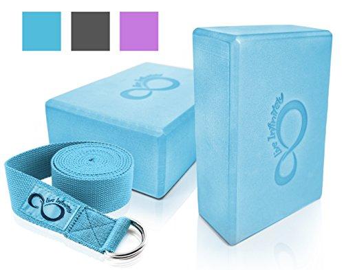 Premium Yoga Blocks & Metal D Ring Strap Yogi Set (3PC) 2 Pack High Density EVA Foam Blocks to Support & Deepen Poses, Improve Strength, Flexibility & Balance - Lightweight, Odor & Moisture Resistant