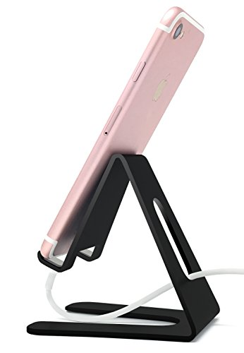 ABCs Cell Phone Stand for Desk, Universal Smartphone Holder, iPhone 5-X, all Samsung Galaxy and Note Androids, Nintendo Switch Holder for Kids, Dock, Kindle, Charging, Phone Accessories (Black)