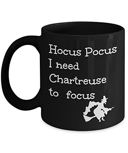 Chartreuse Lover Gift Mug Funny Hocus Pocus I Need to Focus Joke Magic Halloween Witch Themed Black Coffee Cup -