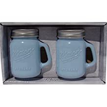 Mason Jar Salt and Pepper Shaker - Milk Glass Blue