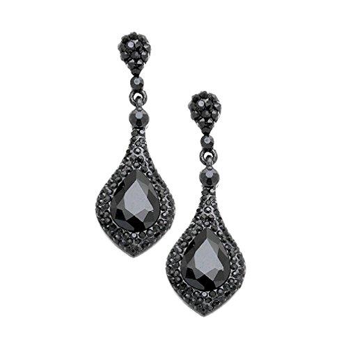 Women's Jet Black Austrian Crystal Elegant Bohemian Boho Statement Chandelier Evening Earrings ()