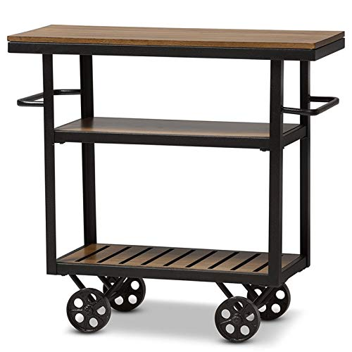 - Baxton Studio Mobile Serving Cart in Brown and Black