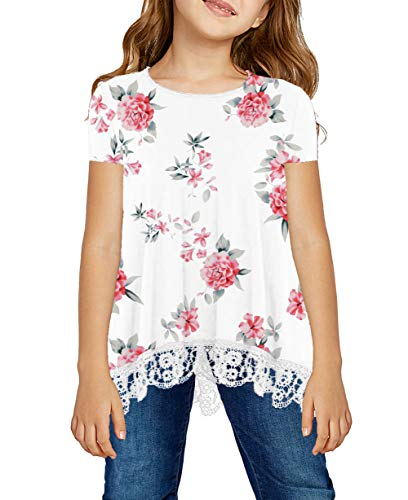 storeofbaby Girls Casual Tunic Tops Short Sleeve Loose Soft Blouse T-Shirt for 4-13 Years 1
