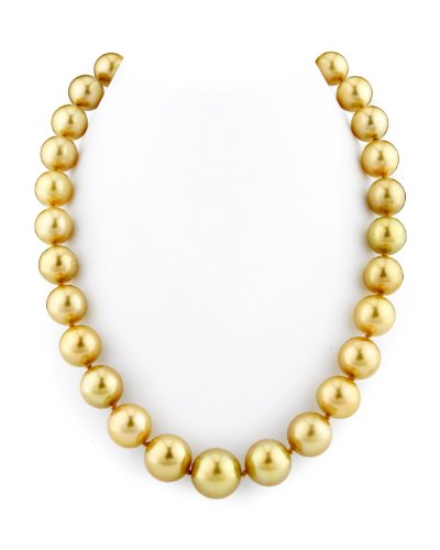 - THE PEARL SOURCE 14K Gold 12-15mm Round Genuine Golden South Sea Cultured Pearl Necklace in 17