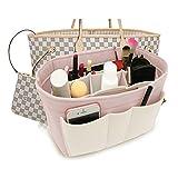 Felt Insert Fabric Purse Organizer Bag, Bag Insert In Bag with Zipper Inner Pocket Fits Neverfull Speedy 8010 White+pink S