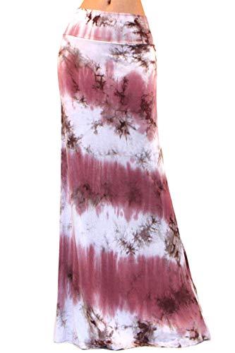 Vivicastle Women's Colorful Tie Dye Acid Washed High Waist Foldover Maxi Skirt (X-Large, G54, - Dye Tie Tie Spandex