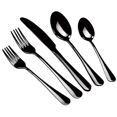 Stainless Steel Flatware Sets, Beionxii 20-Piece Black Silverware Set Service for 4, Mirror Polished, Include Knives Forks Spoons, Dishwasher Safe