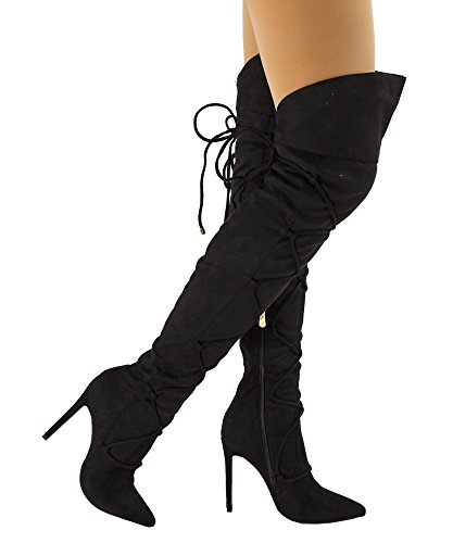Paris Peach Julia-1 Wrap Around Lace Up Pointy Toe Stiletto Heel Over The Knee High Boots - Exclusive by Room Of Fashion - Black (10) (Up Lace Stiletto Boots Heel)