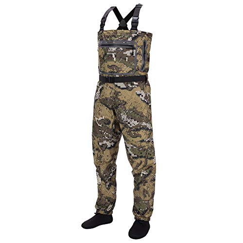 Bassdash Breathable Ultra Lightweight Veil Camo Chest Stocking Foot Fishing Hunting Waders for Men in 7 Sizes