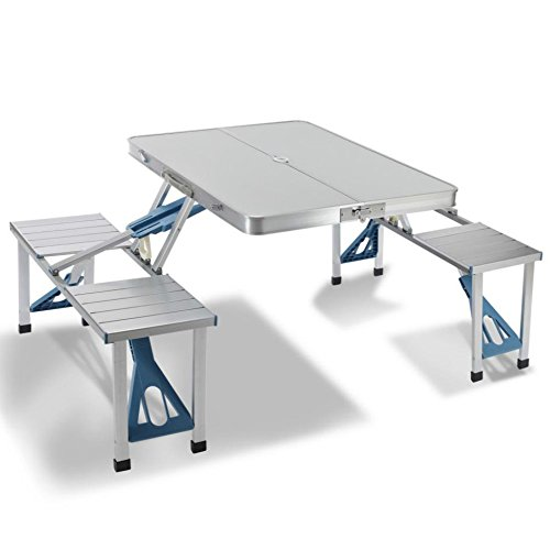 Artist Hand Aluminum Folding Picnic Table with 4 Seats Portable Camping Table with Bench Outdoor Suitcase Table Game Table