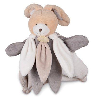 Doudou et Compagnie - Peluches et Doudous - Doudou marionnette Lapin - Le Collector - Pétales coloris : gris taupe blanc - Peluche 25 cm - Genre : Bébé fille ou garçon