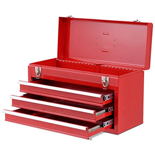 Cypressshop Portable Tool Chest Box Storage Cabinet Garage Mechanic Tools Organizer 3 Drawers Cold Rolled Steel Plate Workshop Tools Boxes Equipments Warehouse