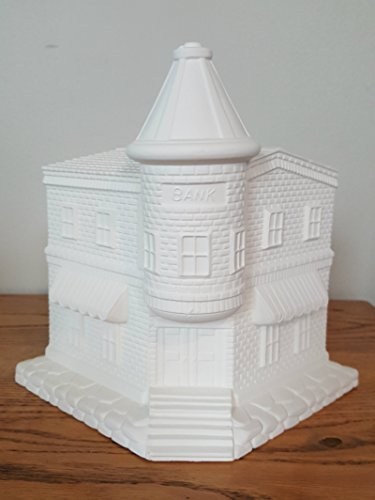 (Old Town Bank unpainted ceramic bisque ready to be painted Christmas Village)