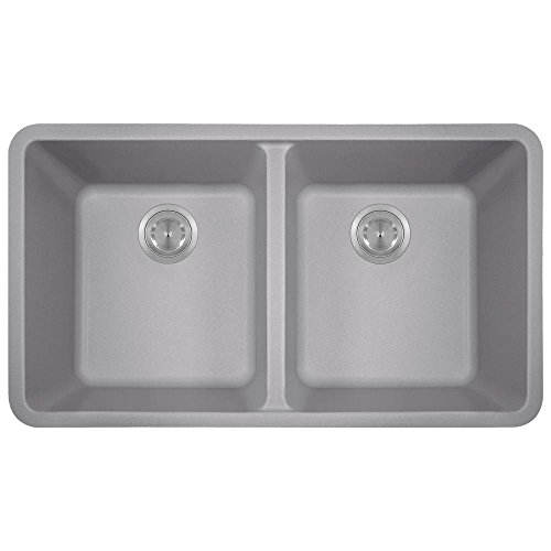 MR Direct 802 Silver TruGranite Double Equal Bowl Kitchen Sink