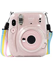 LIYAEG Protection and Carrying Case for Fujifilm Instax Mini 11/9/8/8+ Instant Film Cameras, with Accessory Pocket and Adjustable Shoulder Strap (Clear Crystal)