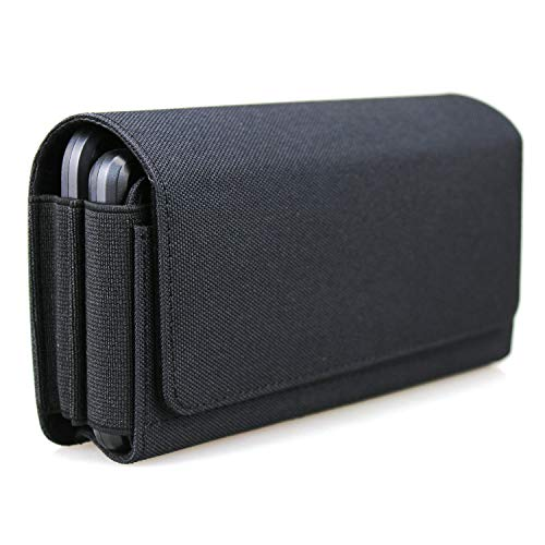 aubaddy Horizontal Dual Phone Holster Pouch Case for 2 Phones, Nylon Double Decker Belt Clip Case for iPhone 11 Pro Max/Xs Max/8 Plus, Samusng Note 8/9/10 Plus, Galaxy S9 Plus/S10 Plus with Thin Case
