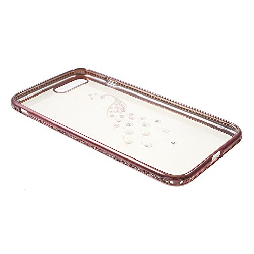 SHENGO Bling Diamond Plating TPU Phone Tasche Hüllen Schutzhülle - Case für iPhone 7 Plus - Peacock / Rose Gold
