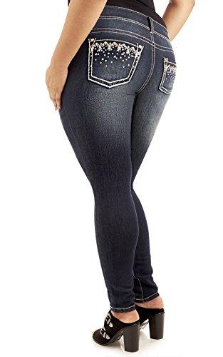 Skinny Wide Leg Jeans (WallFlower Women's Juniors Plus Size Luscious Curvy Bling Skinny Jeans In Libby, 16)
